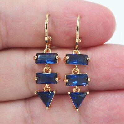18K Yellow Gold Filled Fashion Blue Topaz Geometric Elements Dangle Earrings