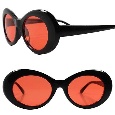 Classic Vintage Retro 80s 90s Fashion Urban Mens Womens Red Lens Oval Sunglasses