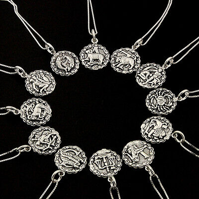 Sterling Silver Astrology Zodiac Symbol Sign Necklace 925 Box Chain Pendant S 25