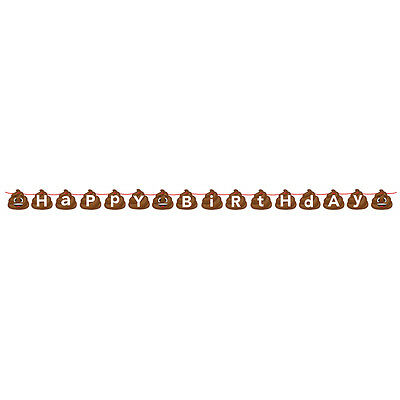 Emoji Poop Character Happy Birthday Shaped Ribbon Banner Party Emoticon Smiling