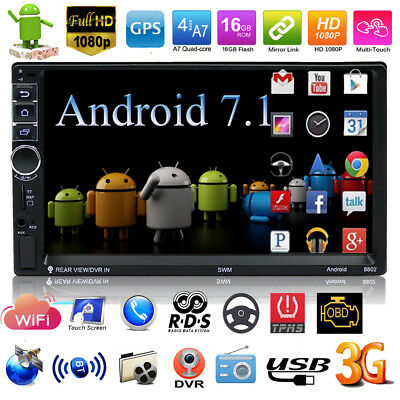 "7"" Double 2DIN Android 7.1 WIFI 4G Car Radio Stereo MP5 Player GPS 16G Bluetooth"