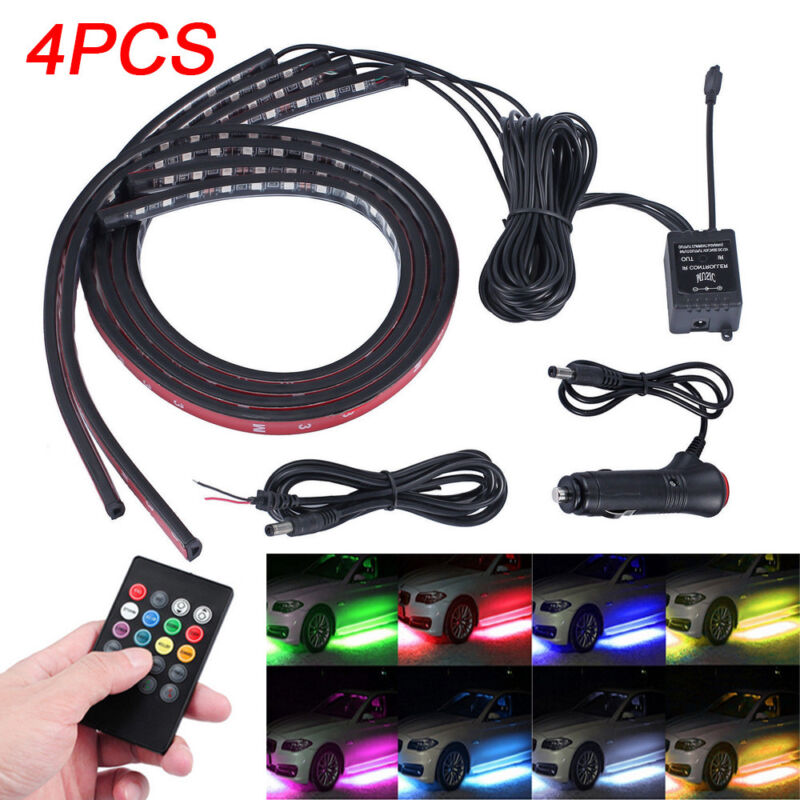 4pcs LED flexible Neon Strip Light Wireless IR Control Under Car Tube Underglow