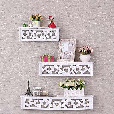3Pcs White Wooden Wall Mounted Shelf Display Hanging Rack Storage Holder Decor