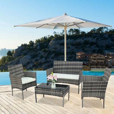 Garden Furniture - Outdoor Patio Rattan Garden Furniture Set W/Table Wicker Sofa Chairs W/ Cushion