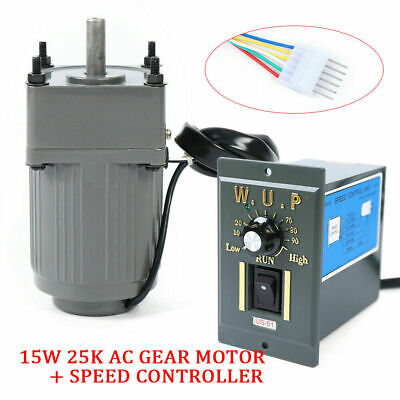 110v 15w Ac Gear Motor Electric Motor Variable Speed Controller 125 54 Rpm New