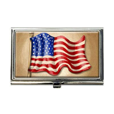 Vintage American Flag Business Credit Card Holder Case