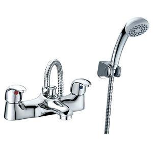 Titan Chrome Bath Shower Mixer Filler Tap Modern Low Pressure Shower Handset T04