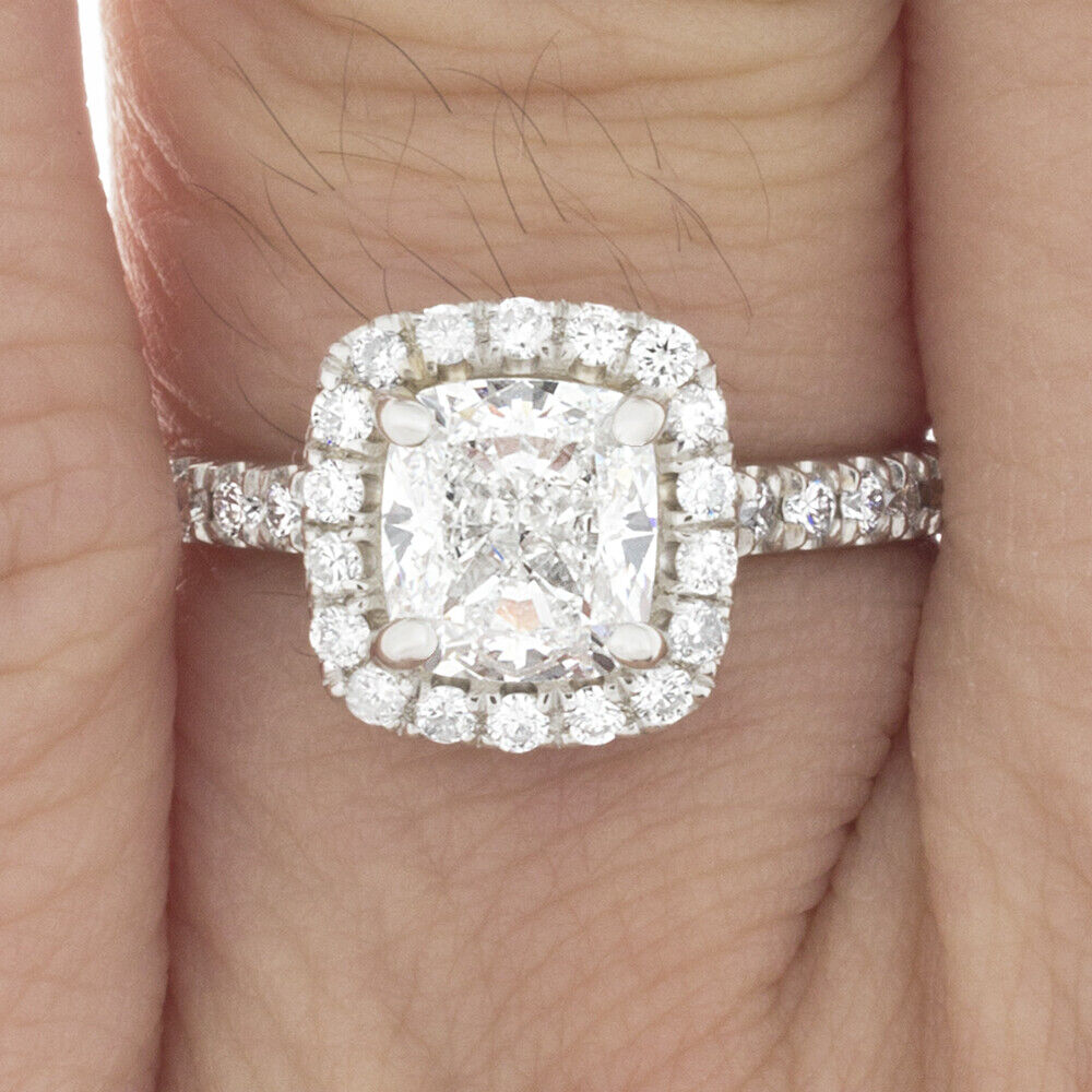 GIA Certified Cushion Cut Diamond Engagement Ring 14k White Gold  0.95 CTW 2