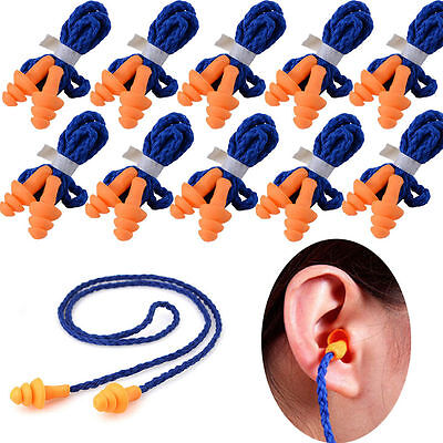 10 Pairlot Reusable Soft Silicone Corded Ear Plugs Hearing Protection Ear Plugs