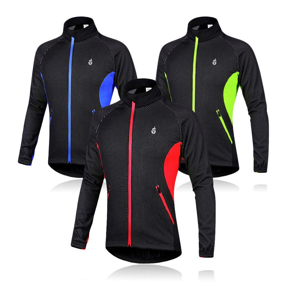 Mens Winter Cycling Jackets Fleece Thermal Windproof Long Sleeve Jersey Coats Cycling