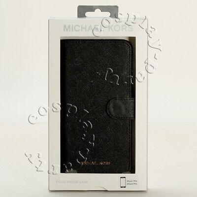 Michael Kors iPhone 8 Plus / iPhone7 Profit Saffiano Leather Folio Case - Black