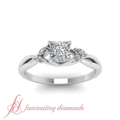 3/4 Carat Princess Cut Diamond Twisted Engagement Rings For Women GIA Certified 1