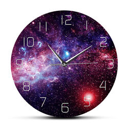 Universe Space Galaxy Print Wall Clock Starry Sky Non Ticking Wall Watch