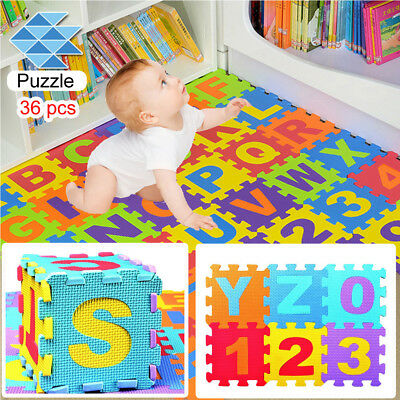 36PCS Baby Kids Room Alphabet Number Foam Crawl Floor Play Mat Jigsaw Toy Game