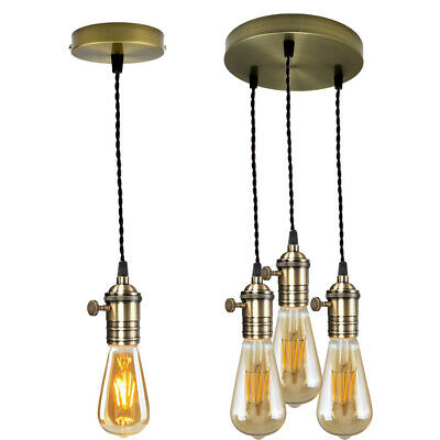 E27 Cluster 1/3Vintage Hanging Pendant Light Holder Ceiling Rose Lamp Fitting UK