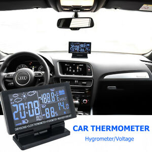 12V Digital Clock Car LCD Alarm Voltage Thermometer Hygrometer Weather Forecast