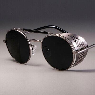 Vintage Retro Steampunk Sunglasses Side Shield Hipster Round Designer Glasses