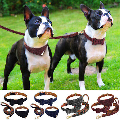 ✅Pet Dog Cat Necklace Bow Tie Collar Scarf Soft Leather Leash For Puppy Dog -