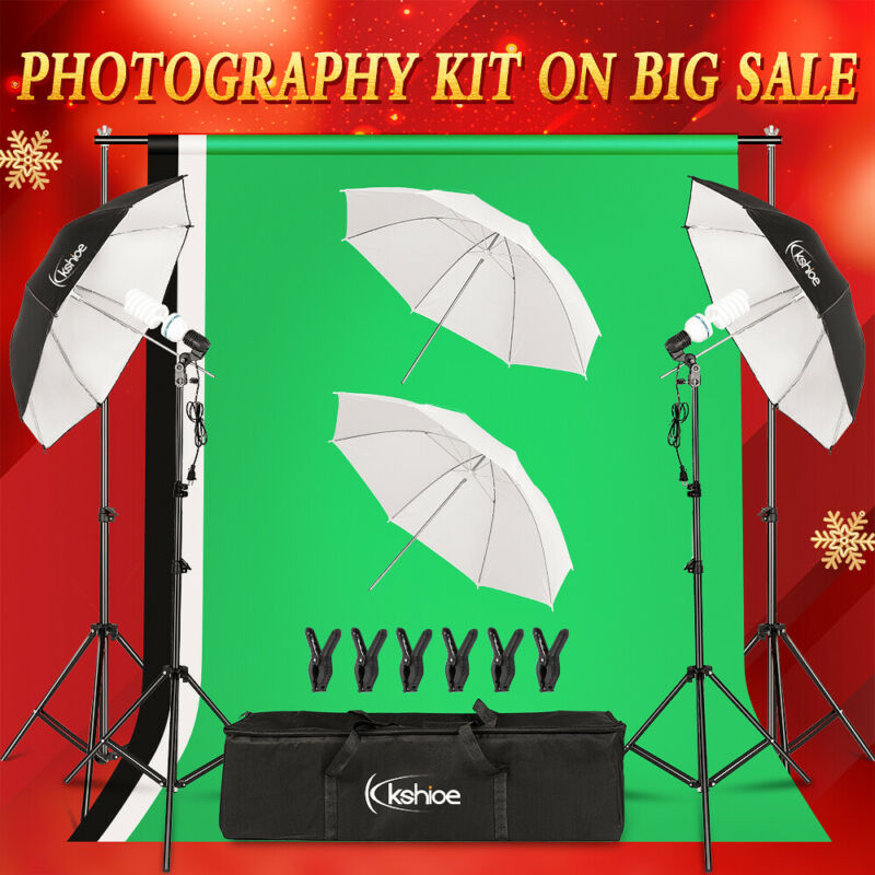 Studio Light Video Photo 4x Umbrellas Photography Kit Backdrop Lighting Kit