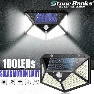 100 LED Solar Power PIR Motion Sensor Wall Light Outdoor Garden Lamp -