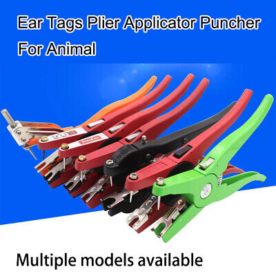 Pig Ear Tag Plier Sheep Goat Hog Cattle Cow Applicator Puncher Marker Tagger