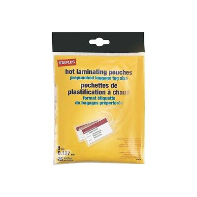 Staples Luggage Tag Size Thermal Laminating Pouches, 5 mil, 25 pack