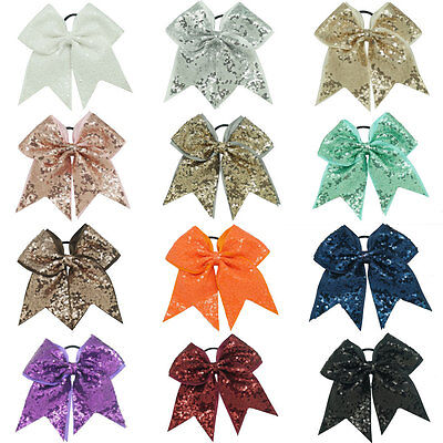 Bling Hair Bow (8 Inch Full Sequin Bling Cheer Hair Bow with  Elastic Band Cheerleading CB005 )