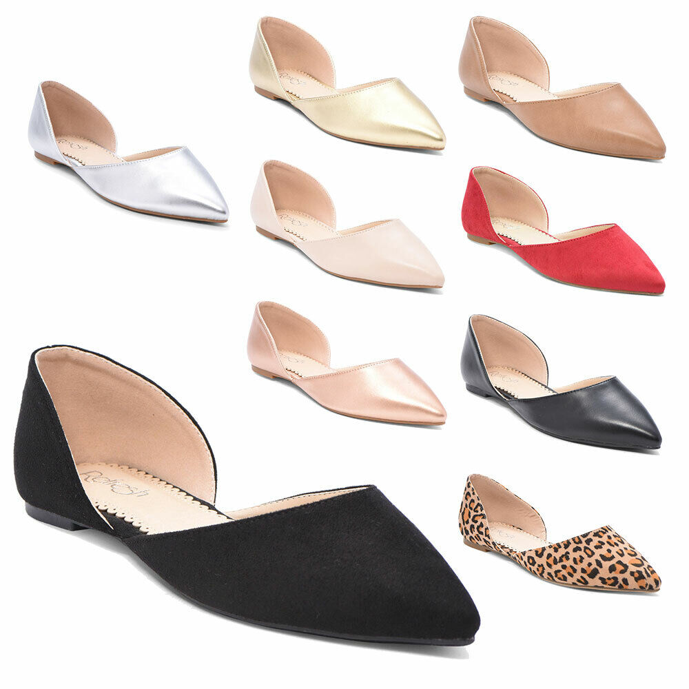 Women Slip on Flat Ballet Ballerina Pumps Loafer Ladies Plain Casual Dolly Shoes 1