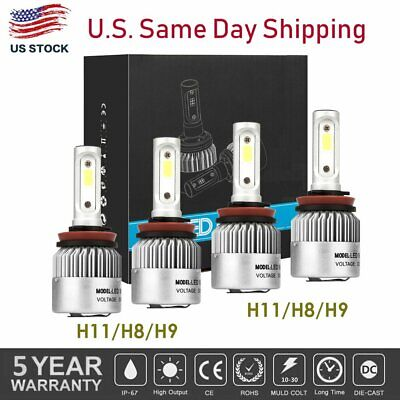 4Pcs LED Headlight Bulbs H11 + H11 Combo 2640W 396000LM High Low Beam Fog Lights
