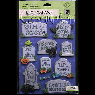 K & COMPANY Tim Coffey Halloween Tombstone GRAND ADHESIONS STICKERS Word Phrase](30 Halloween Words)