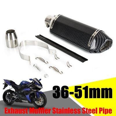 38-51mm Universal Motorcycle Motorbike Carbon Exhaust Muffler Removable Silencer