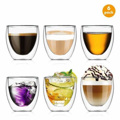 6 x 250ml Doppelwandige Espresso Gläser Kaffeegläser Thermogläser Espressotasse