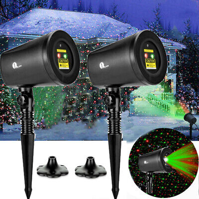 2PCS Christmas LED Laser Projector Light Party Landscape Xmas Lamp Waterproof US