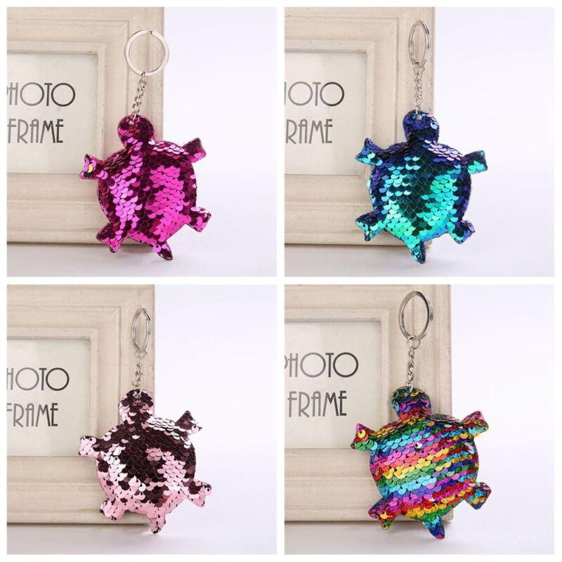 Women Pop Sequin Animal Tortoise Pattern Key Chain Handbag K