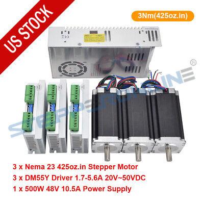 3 Axis Cnc Kit 3nm Nema 23 Stepper Motor 425oz.in Driver Dm556y Power Supply