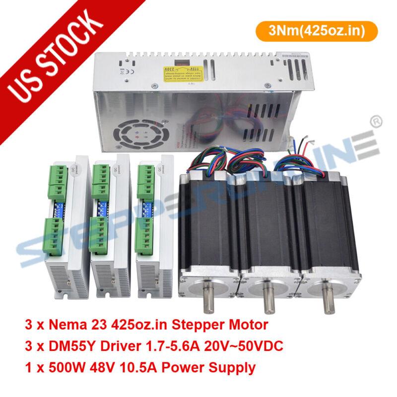 3 Axis Nema23 Stepper Motor 3Nm(425oz.in) 4.2A Single Shaft Φ10mm CNC Kit
