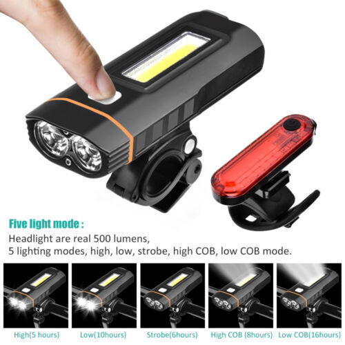 500 LM T6 LED Powerful Mountain Bicycle Bike Headlight and Taillight Waterproof