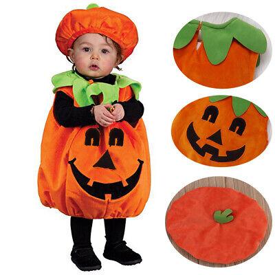Neue warme süße Kürbis ärmellose Kostüm Overall cosplay halloween kleinkind baby