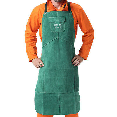 Ap-6105 New Green 42 And 36 Fire Resistant Cowhide Leather Welding Bib Apron