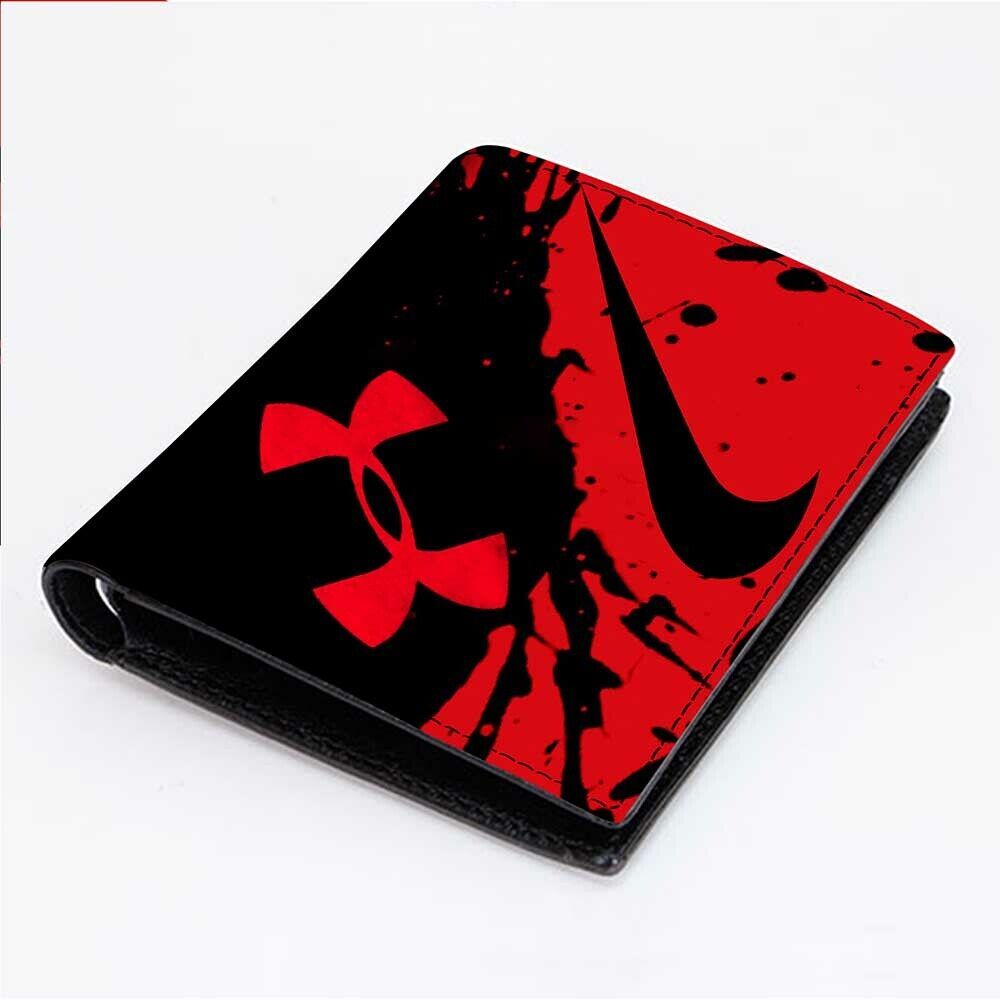 UNDER ARMOUR RED ICON Men's Wallet Black Leather Custom Mone