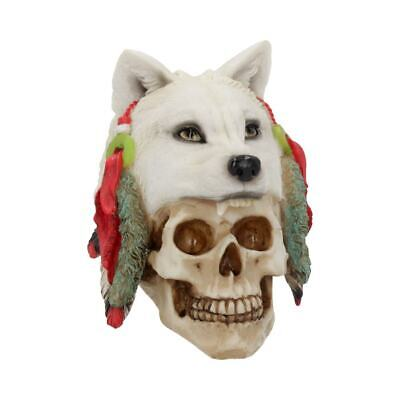 SPIRIT HUNETR 17cm Native American Skull With White Wolf Pet Gothic - FREE P+P