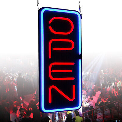Vertical Neon Open Sign Store Bright Red And Blue Led Light 30w 23.6x11.8 Inch