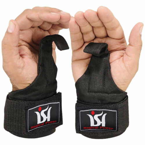 Weight Lifting Power Training Gym Hooks Grips Bar Straps Wraps Wrist Supports