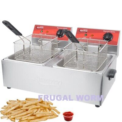Avantco F102 20 Lb. Dual Tank Electric Countertop Deep Fryer - 120v 3500w