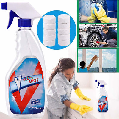 Best 10 x V Clean Spot Multifunctional Effervescent Spray Cleaner Kit+ Bottle (Best Household Cleaning Products)