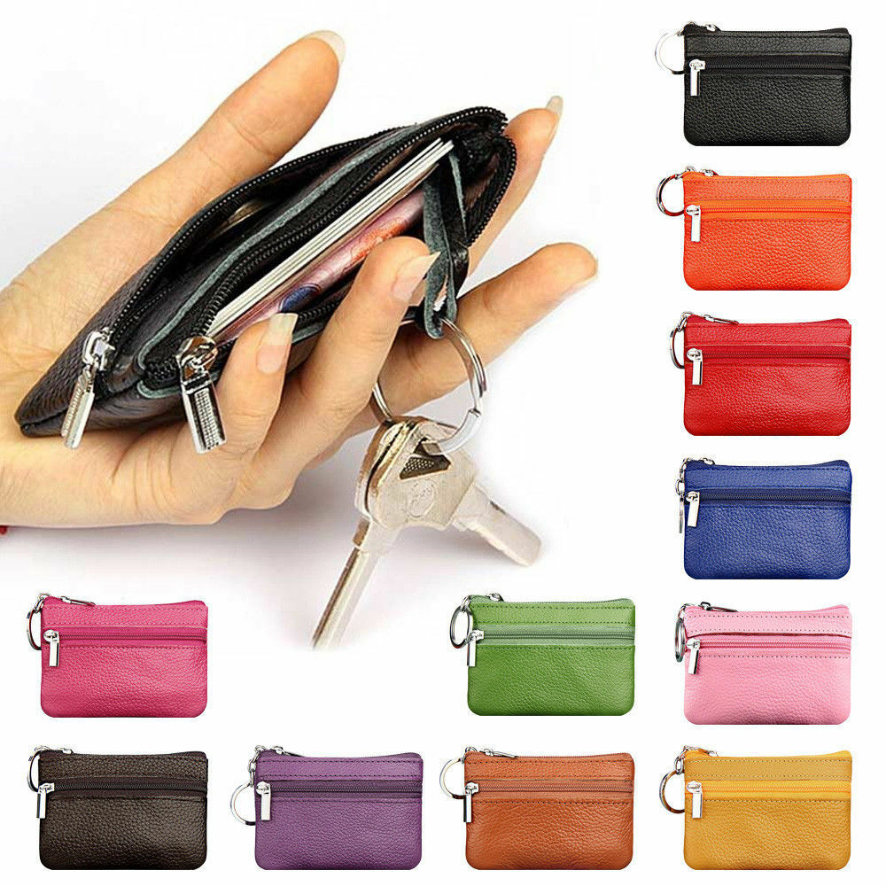 Genuine Leather Zipped Coin Purse Handmade Slippers Keychain Wallet Cardholder