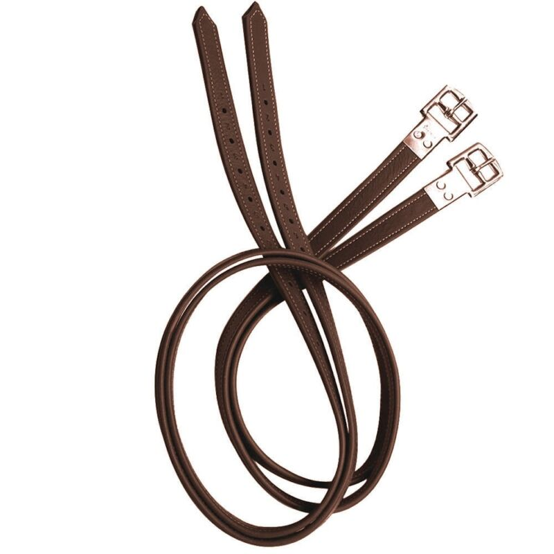 Prestige Lined English Stirrup Leathers - TOBACCO BROWN - All Sizes