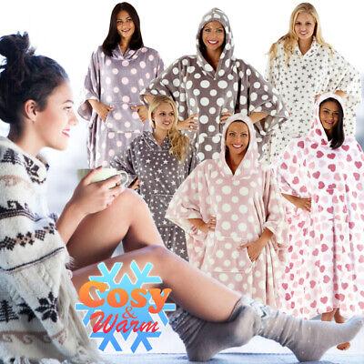 Plus Size Onesies (All in One Poncho Blanket Bath Robe Women's Girls Hooded Full Length Soft)