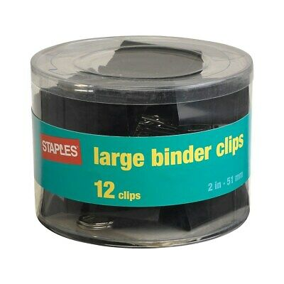 Staples Large Metal Binder Clips Black 2 Size With 1 Capacity 831610