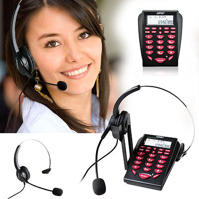 LCD Display Office Telephone +Corded Headset Call Center Phone Tone Dial Key Pad
